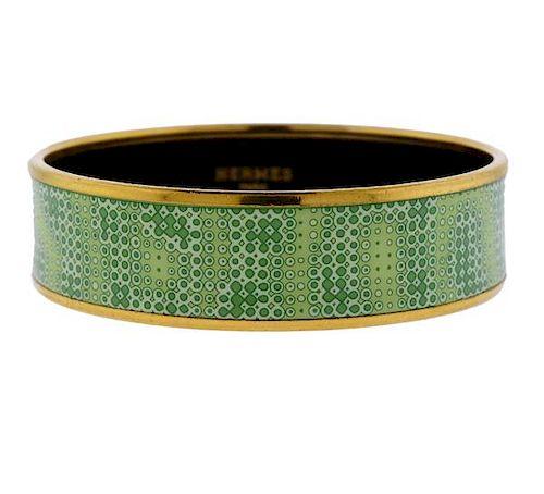 Hermes Enamel Gold Tone Metal Bangle Bracelet