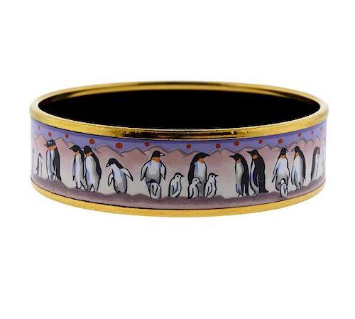Hermes Enamel Penguin Motif Bangle Bracelet