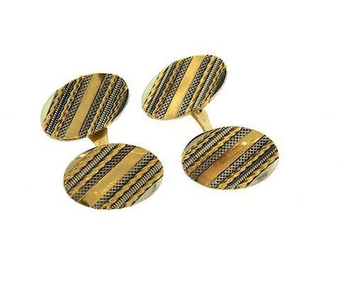 Art Deco 18k Two Tone Gold Oval Cufflinks