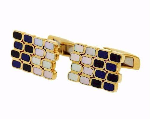 18k Gold Lapis Onyx MOP Inlay Cufflinks