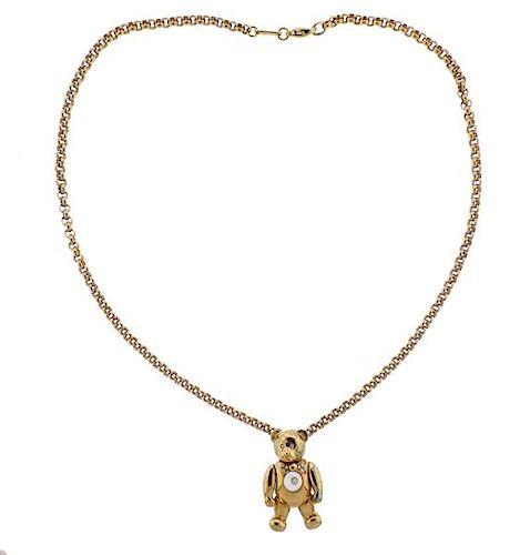 Chopard Happy Diamond 18K Gold Diamond Bear Pendant Necklace