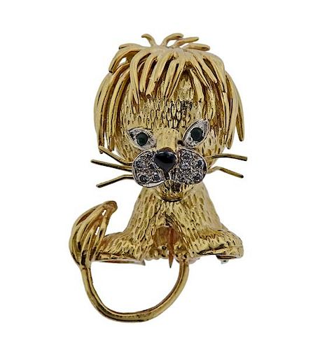 1960s Van Cleef & Arpels 18k Gold Diamond Emerald Lion Brooch