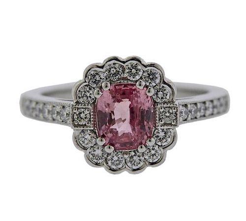 Certified 1.46ct Natural Padparadscha Sapphire Diamond Platinum Ring