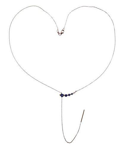 18k Gold Gemstone Lariat Necklace