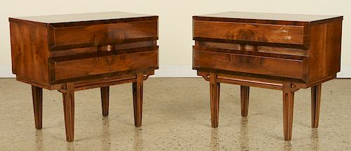 PAIR MID CENTURY MODERN WALNUT NIGHT STANDS C1960