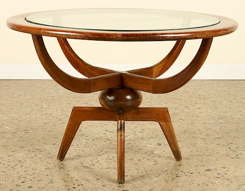 MID CENTURY MODERN ROUND WOOD GLASS COFFEE TABLE