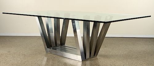 ULTRA MODERN CHROME BASE DINING TABLE GLASS TOP