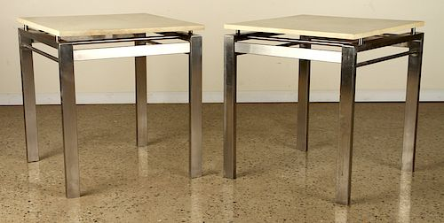 PAIR SOPHISTICATED STEEL END TABLES PARCHMENT TOP