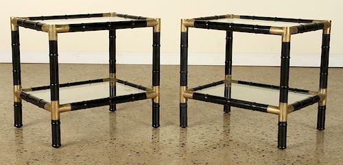 PAIR EBONIZED WOOD BRASS 2 TIER END TABLES 1970