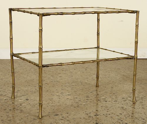 BRASS GLASS TABLE IN MANNER OF BAGUES C.1940