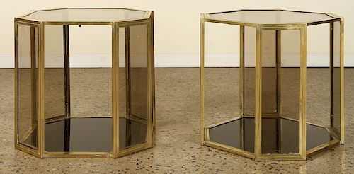 PAIR FRENCH OCTAGONAL BRASS GLASS SIDE TABLES