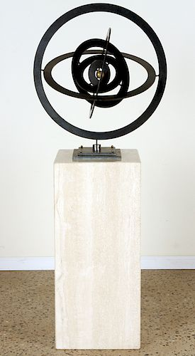 A STEEL AND BRONZE ASTROLAB KINETIC SCULPTURE