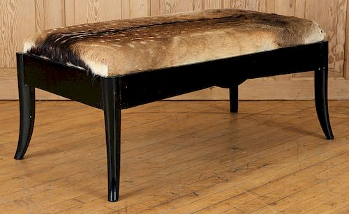 FRENCH EBONIZED BENCH COVERED IN DEER HIDE C.1950