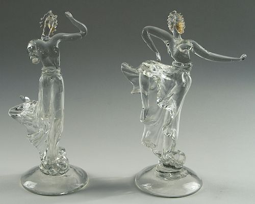 2 BAROVIER SEGUSO & FERRO MURANO GLASS FIGURES
