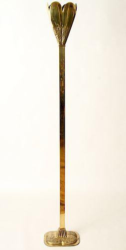 ITALIAN BRASS TULIP FORM FLOOR LAMP C.1960