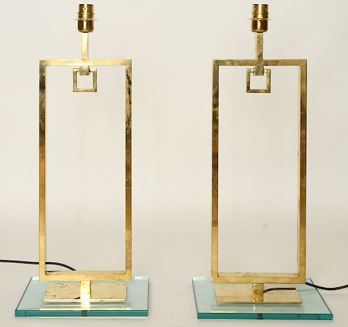PR ITALIAN BRASS TABLE LAMPS MANNER PIERRE CARDIN