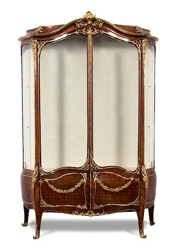 A Louis XV Style Gilt Bronze Mounted Parquetry Vitrine Cabinet Height 90 x width 57 1/2 x depth 21 inches.
