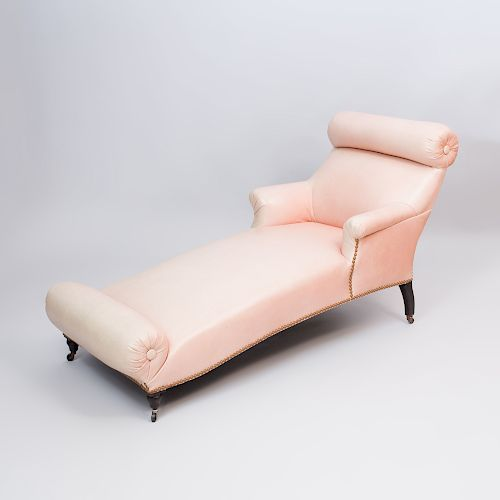 Napoleon III Style Mahogany And Leather Double Bolster Chaise Lounge