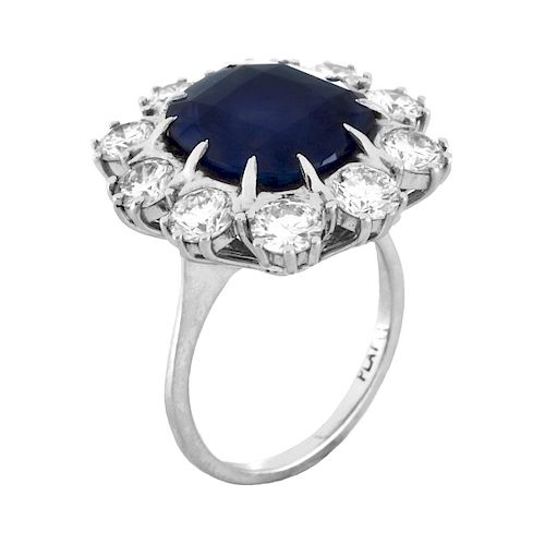 AGL / GIA Burma Sapphire and Diamond Ring