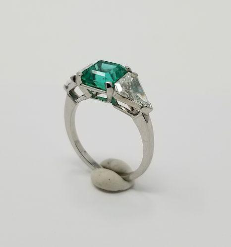 Emerald & Diamond Platinum Ring by Helmuth Stone Gallery - 1307472
