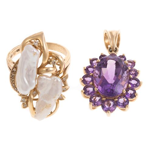 An Amethyst Pendant and Biwa Pearl Ring in 14K