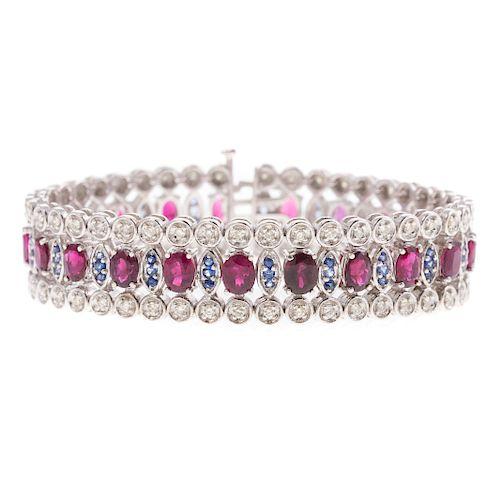 A Ladies Ruby & Diamond Bracelet in 14K