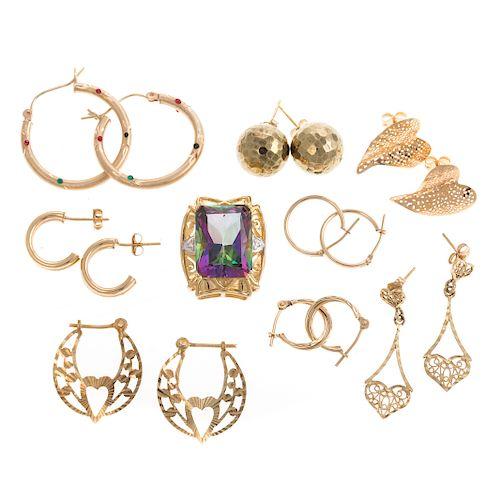Eight Pairs of Gold Earrings & Mystic Topaz Slide