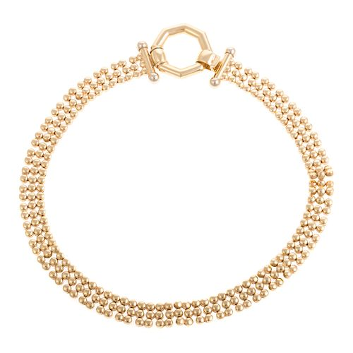A Lady's Triple Row Link Necklace in 14K