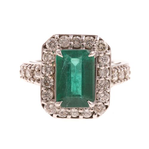 A Ladies Impressive Emerald & Diamond Ring in 14K