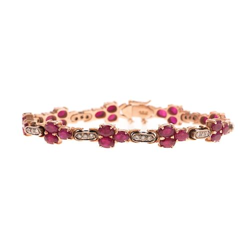 A Vintage Ruby & Diamond Link Bracelet in 18K