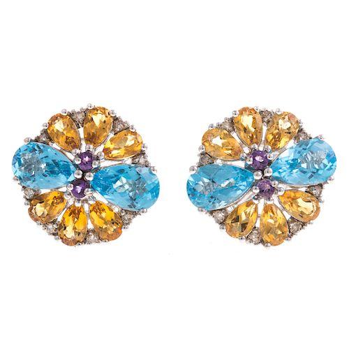 A Ladies Pair of Gemstone Earrings in 18K Gold