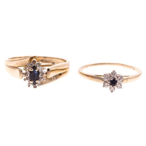 A Pair of Ladies Sapphire & Diamond Rings in Gold