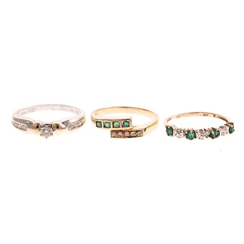 A Trio of Emerald and Diamond Rings in Gold