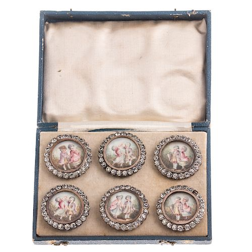 A Vintage Set of 6 Hand Painted Buttons