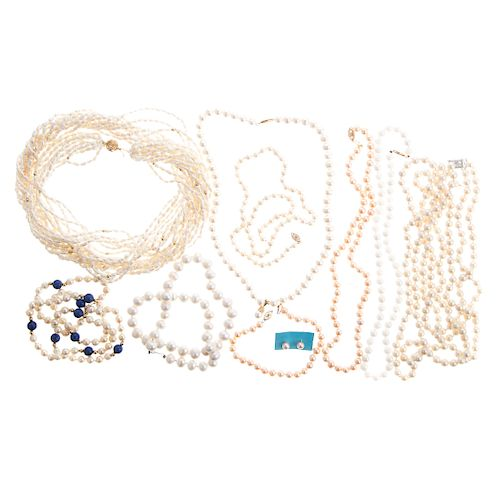A Ladies Collection of Pearl Jewelry with 14K Gold