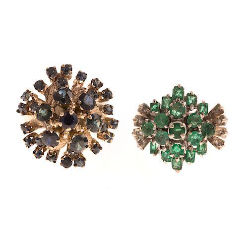 A Pair of Ladies Gemstone Cluster Rings in Gold
