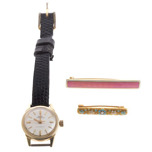 A Pair of Enamel Bar Pins and Watch in 14K