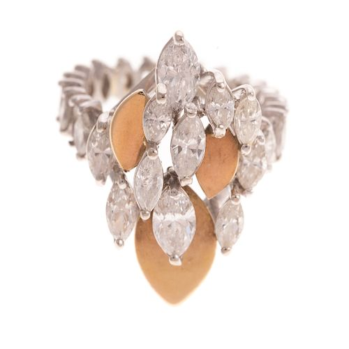 A Diamond Cluster Marquise Ring in Platinum & 14K