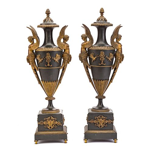 Pair French Empire Bronze Urns