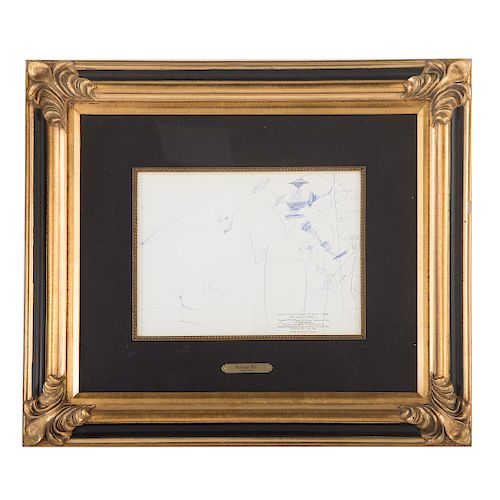 Salvador Dali. Dedicatory Drawing, blue ink