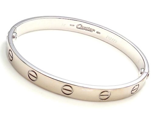 CARTIER 18k White Gold Love Bangle Bracelet 1993 Size