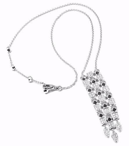 Bulgari Lucea 18K White Gold Diamond Pendant  Necklace.