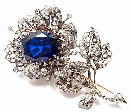 Antique 14k Rose Gold & Silver Diamond Flower Brooch.