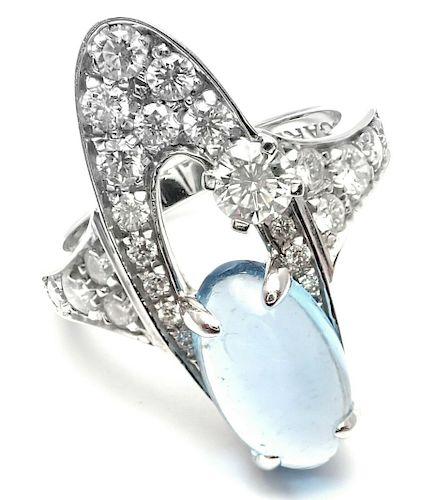 Bulgari Elysia 18k White Gold Diamond Blue Topaz Ring.