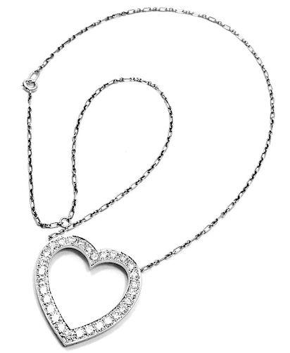 Vintage Tiffany & Co. Palladium Diamond Large Heart