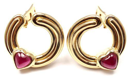 BULGARI 18K YELLOW GOLD PINK TOURMALINE EARRINGS