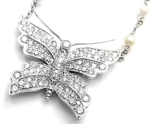 Tiffany & Co Platinum Diamond Pearl Butterfly Pendant