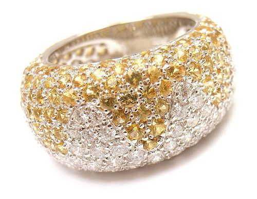 CHOPARD 18K GOLD YELLOW SAPPHIRE DIAMOND WAVE RING