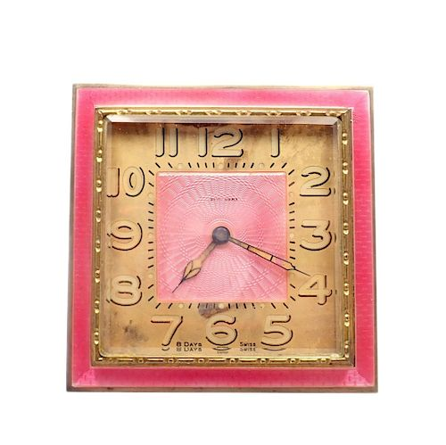 LeCoultre Guilloche Hot Pink Enamel 8 Days Desk Clock