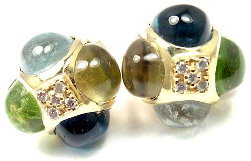 Laura Munder 18k  Diamond Peridot Aquamarine Topaz
